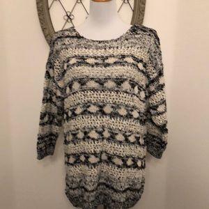 H&M white black knit long sweater size large
